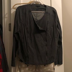 Halston Plus-Size Cropped Collarless Biker Jacket